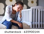 young tired woman sitting on...   Shutterstock . vector #635900144