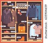 wardrobe room full of clothes.... | Shutterstock .eps vector #635904659