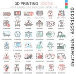 3d printing color line outline ... | Shutterstock . vector #635910110