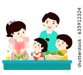 happy family cook healthy food... | Shutterstock .eps vector #635912324