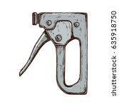old construction stapler tool ... | Shutterstock .eps vector #635918750