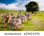 plain of jars in laos during... | Shutterstock . vector #635921570