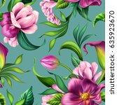 seamless pattern  botanical... | Shutterstock . vector #635923670