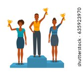 businesswomen holding winners... | Shutterstock .eps vector #635923970