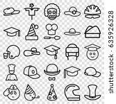 hat icons set. set of 25 hat... | Shutterstock .eps vector #635926328