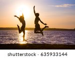 young lovers happily spend time ... | Shutterstock . vector #635933144