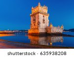 belem tower or tower of st... | Shutterstock . vector #635938208