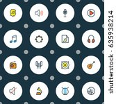 audio colorful outline icons... | Shutterstock .eps vector #635938214