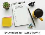 top view notebook with goals...   Shutterstock . vector #635940944
