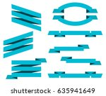 vector set of blue flat ribbons ...   Shutterstock .eps vector #635941649