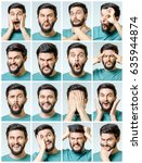 set of young man's portraits... | Shutterstock . vector #635944874