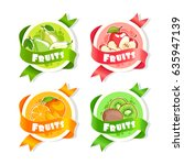 four stickers with ribbon and...   Shutterstock .eps vector #635947139