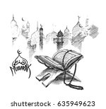 the holy book of the koran on... | Shutterstock .eps vector #635949623