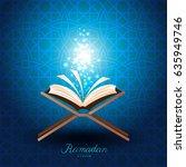 muslim quran with magic light... | Shutterstock .eps vector #635949746