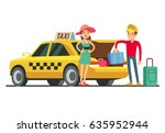 taxi with open trunk. happy...   Shutterstock .eps vector #635952944