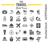 travel solid icon set  tourism... | Shutterstock .eps vector #635953664