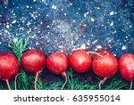spring fresh radishes frame... | Shutterstock . vector #635955014