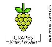 cartoon grapes green label | Shutterstock .eps vector #635955998