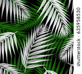 palm leaf seamless pattern.... | Shutterstock .eps vector #635958530
