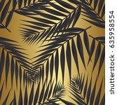 palm leaf seamless pattern.... | Shutterstock .eps vector #635958554