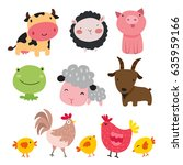 Stock vector farm animals character design 635959166