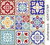 collection of 9 ceramic tiles... | Shutterstock .eps vector #635972789