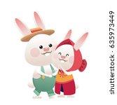 lovely couple easter bunny... | Shutterstock .eps vector #635973449