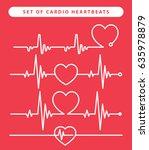 set of cardio heartbeats  | Shutterstock .eps vector #635978879