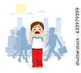 cute little child crying...   Shutterstock .eps vector #635979599