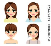 beautiful young brunette woman... | Shutterstock .eps vector #635979623