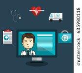 digital healthcare technology...   Shutterstock .eps vector #635980118