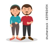 brunette couple design. | Shutterstock .eps vector #635983454