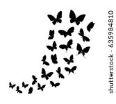 Stock vector black silhouettes of butterflies flying vector illustration 635984810