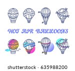 line and color set of hot air... | Shutterstock .eps vector #635988200
