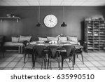 dinner table in a retro living... | Shutterstock . vector #635990510