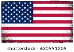 grunge usa flag.vintage... | Shutterstock .eps vector #635991209