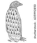 penguin coloring book vector... | Shutterstock .eps vector #635992850