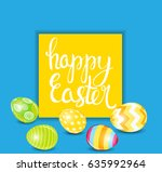 happy easter spring holiday... | Shutterstock . vector #635992964