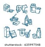 milk products illustration.... | Shutterstock .eps vector #635997548