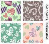 set of seamless vector patterns ... | Shutterstock .eps vector #635998190