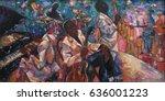 jazz club  oil painting ... | Shutterstock . vector #636001223