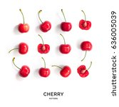 seamless pattern with cherry....   Shutterstock . vector #636005039