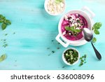 cold borscht   speciality for...   Shutterstock . vector #636008096