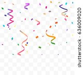 colorful confetti and ribbon... | Shutterstock .eps vector #636009020
