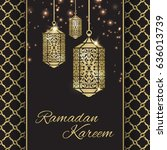 ramadan kareem greeting card... | Shutterstock .eps vector #636013739