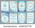 vector templates with mandala.... | Shutterstock .eps vector #636013778