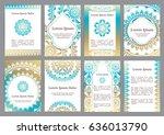 vector templates with mandala.... | Shutterstock .eps vector #636013790