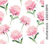 watercolor hand drawn peonies ... | Shutterstock . vector #636014894