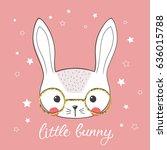 cute little rabbit with glasses.... | Shutterstock .eps vector #636015788