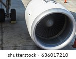 big airplane turbine engine of... | Shutterstock . vector #636017210
